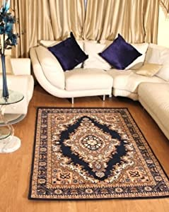 Floral Blue Traditional Navy Blue Medallion Rug Carpet Persian Style Rugs Runner Modern Soft Carpet from AHOC