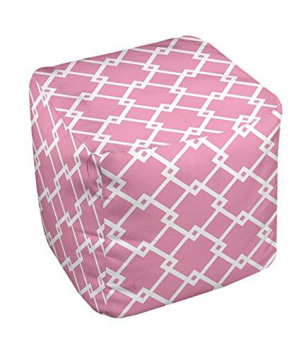 E by design FG-N10-Petal_Pink_White-18 Geometric Pouf