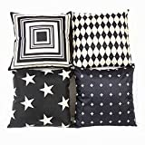 Monkeysell .4 Pcs Black and Beige Stripe Vintage Style Cotton Linen Sofa Home Decor Design Throw Pillow Case Cushion Covers Square 18 Inch (4 Pcs Black and Beige-3)
