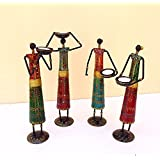 Shivay Arts Metal Multicolor Tribal Lady Tealight Candle Holder - Set Of 4