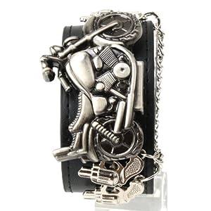 Amazon.com: Punk Series Men Black Leather Band Steel Motorcycle