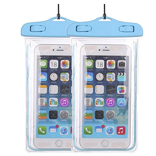 2Pack BlueUniversal Waterproof Phone Case Dry Bag CaseHQ for iPhone 4/5/6/6s/6plus/6splus,Samsung Galaxy s3/s4/s5/s6 etc. Waterproof, Dust Dirt Proof, Snow Proof Pouch for Cell Phone up to 5.7 inches