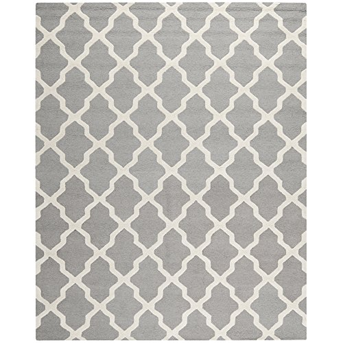 Safavieh Cambridge Collection CAM121D Handmade Silver and Ivory Wool Area Rug, 7 feet 6 inches by 9 feet 6 inches (7'6
