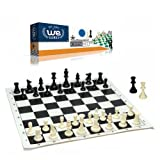 Best Value Tournament Chess Set - Filled Chess Pieces and Black Roll-Up Vinyl Chess Board