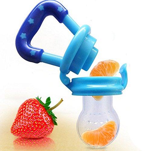 Newcomdigi Ciuccio Retina per Frutta Succhietto con Tettarella Ortodontica Nibbler in Silicone senza BPA Massaggiagengive per Bambini da 6 Mesi - Blu