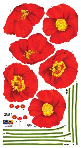 Easy Instant Decoration Wall Sticker Decal - Red Poppies