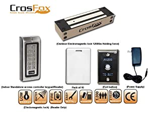 CrosFox 1 door Access control Indoor reader / Keypad kit with 1200 lbs electromagnetic outdoor lock
