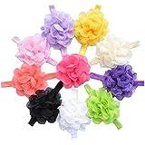 QS Baby Girl's Headbands Chiffon Hair Flower (10 Pack)