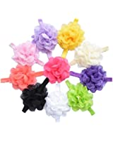 QS Baby Girl's Headbands Chiffon Hair Flower (10 Pack)