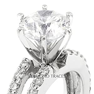 3.84 Carat Round Natural Diamond AGI Certified D-IF Ideal Cut 14k White Gold 6-Prong Setting Split Shank Engagement Ring