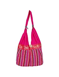 Womaniya Canvas Pink Handbag For Women(Size-32 Cm X 32 Cm X 10 Cm) - B00SJ1JKFS