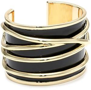 Belle Noel Black Enameled Gold Thread Bangle Bracelet