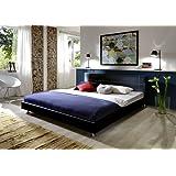 XXS® Möbel Polsterbett 140 x 200 traconte schwarz Ziernähte im Kopfteil Füße Chromlook teilzerlegt Lager Speditionsversand