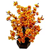 Thefancymart artificial Blossom in yellow color Flowers with Wooden pot Style Code- 162