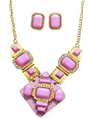 BID4DESIRE PURPLE BASE IN GOLD OUTLINE CZ STUD NECKLACE WITH EARRINGS FOR WOMEN