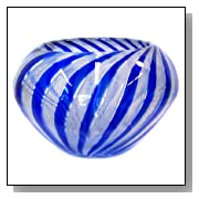 Murano art glass vase bowl blue with filigranna