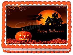 Amazon.com: Halloween Edible Frosting Sheet Cake Topper ...