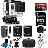 GoPro HERO3+ Silver Edition Camera HD Camcorder With 2 Replacement Lithium Ion Batteries + Charger with Car Charger + Deluxe Carrying Case + Monopod + Micro HDMI Cable + 32GB SDHC MicroSD Memory Card Complete Deluxe Accessory Bundle