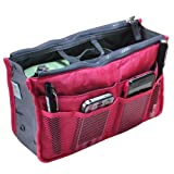Buypretty New Women Travel Insert Handbag Organiser Purse Large liner Organizer Tidy Bag--rose red