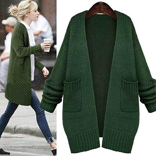 DJ/ Autunno/inverno maglione/cappotto/lungo sciolto/plus taglia donna maglione/inverno donne/Cardigan in maglia , green , s