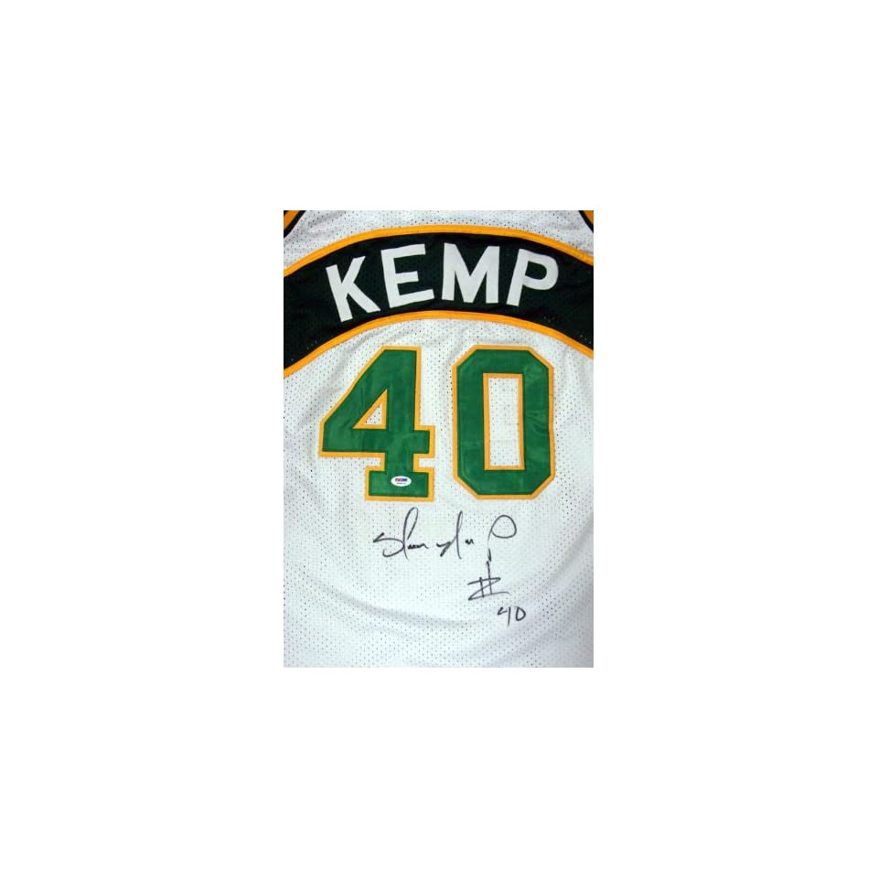 a4443ef8d Shawn Kemp Autographed White Seattle Sonics Jersey PSA/DNA on PopScreen