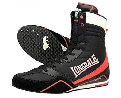 LONSDALE Quick Adult Boxing Boots, Black/Red, UK8: Amazon
