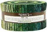 Robert Kaufman Artisan Batiks Prisma Dyes Rainforest Green Jelly Roll Up, 40 2.5x44-inch Cotton Fabric Strips