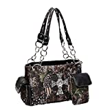 Black Camo Camouflage Bling Cross Wings Camo Christian Designer Concealed Carry Chain Purse Western Handbag by TravelNut® Summer Back to School Gift Idea Best for Women girl mother