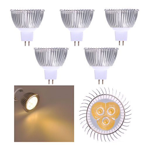 Lot of 5 PCS 12V 3W MR16 LED Bulbs - 3200K Warm White LED Spotlights -25Watt Equivalent - 330 Lumen 45 Degree Beam Angle for Landscape, Recessed, Track lighting