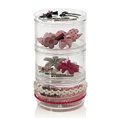 Us Acrylic® 3 Stackable Hair Accessory Compartments With 3 Removable Lids