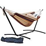 Prime Garden 9 FT. Double Hammock with Space Saving Steel Hammock Stand, Tan Stripe