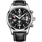 BINGER Mens Date Unisex Black Military Multifunction Chronograph Watches Luminous Numerals Leather Strap