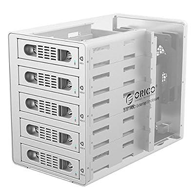 ORICO 5 Bay 3.5 inch Hard Disk Drive Case HDD RAID Enclosure, USB3.0 & eSATA with US Plug - Silver (3559RUS3-US)