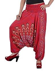 Indi Bargain Rayon Block Print Peacock Alibaba Rayon Mandala Afghani Trouser (315Red)