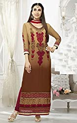 Serene Shaded Brown and Beige Embroidered Semi Stitched Suit Material
