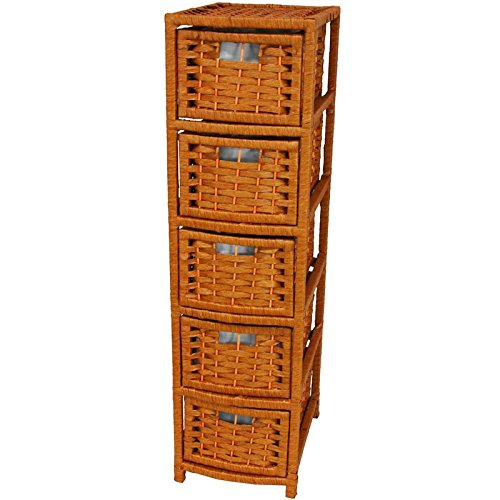 Oriental Furniture Affordable DVD/CD Media Cabinet, 41-Inch Rattan Style Natural Fiber 5 Drawer Narrow Chest, Honey