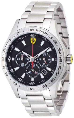 Ferrari 830048 - Reloj analógico de cuarzo para hombre, correa de acero inoxidable color plateado (cronómetro)