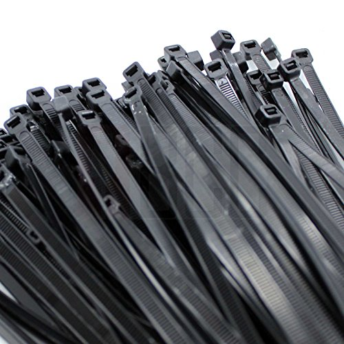 "BuyCheapCables® 100 Pack 17 3/4"" Nylon Cable Zip Ties Self Locking 4.7mm (Black- 50lbs)"