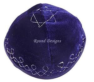 High Quality Blue Velvet Star Of David Yarmulke Kippah 20 cm Diameter