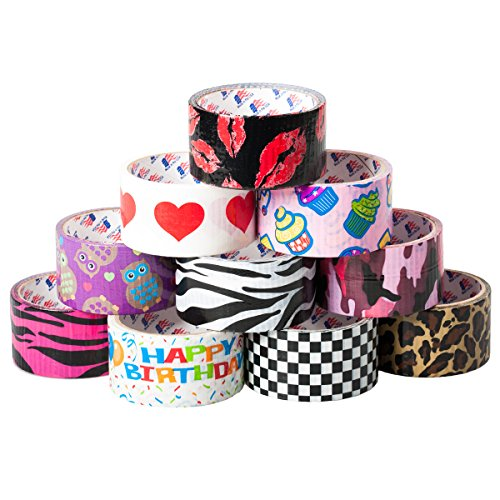 10pk Bulk Duct Tape Lot Arts Crafts DIY Fashion Decorative Printed Rolls Wallets