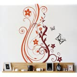 Decal Style Floral Branch Wall Sticker Large Size- 27*33 Inch Color - Multicolor