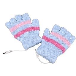 Eforstore Laptop Gloves USB Heated Half Finger Fingerless Winter Warm Hand Warmer Mittens for Women Girls (Blue)