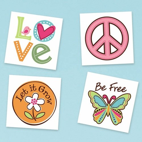 Amscan Hippie Chick Birthday Party Temporary Tatto (16 Piece), Multi, 2 x 2""
