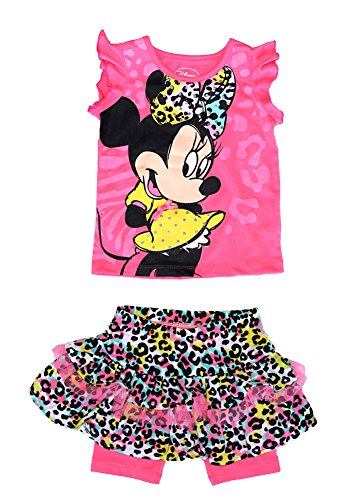 Disney Minnie Mouse Baby Girl Ruffle Sleeve T Shirt & Animal Print Skirt Outfit