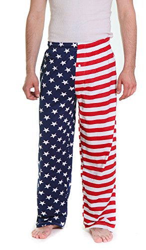 Fun Boxers Mens USA Flag Loungewear Pajama Pants (Red, White & Blue, Large)