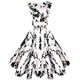 MaggieX 1960s Classic Vintage Party Swing Dress for Women (S, Q001-012)