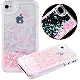 Case for iPhone 4s,Cover for iPhone 4s,Transparent Case for iPhone 4s,Hard Clear Case for iPhone 4s,IFEDA Glitter Bling Sparkles Shinny Hearts Creative Design Flowing Liquid Bumper Hard Case for Apple iPhone 4 4S (Pink)