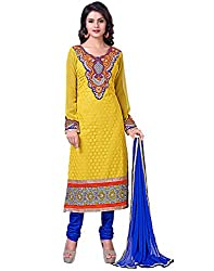 Lookslady Faux Georgette Yellow Women Clothing Semi Stitched Salwar Kameez Suit