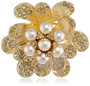 "Napier ""Giftable"" Gold-Tone and Pearl Flower Pin"