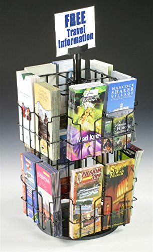 Wire Literature Display for Counter, Rotating Brochure Rack with 16 Full-View Pockets for 4x9 Pamphlets, Plastic Sign Holder Included - Black (Pamphlet Dispenser compare prices)